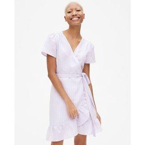 Gap Stripe Ruffle Wrap Dress in Linen Cotton